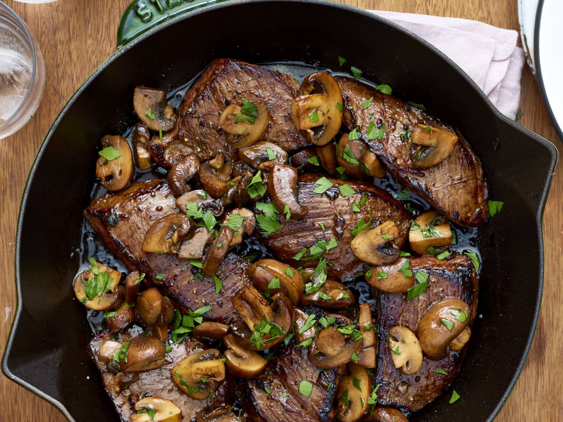 Steak with Fried Onions and Mushrooms