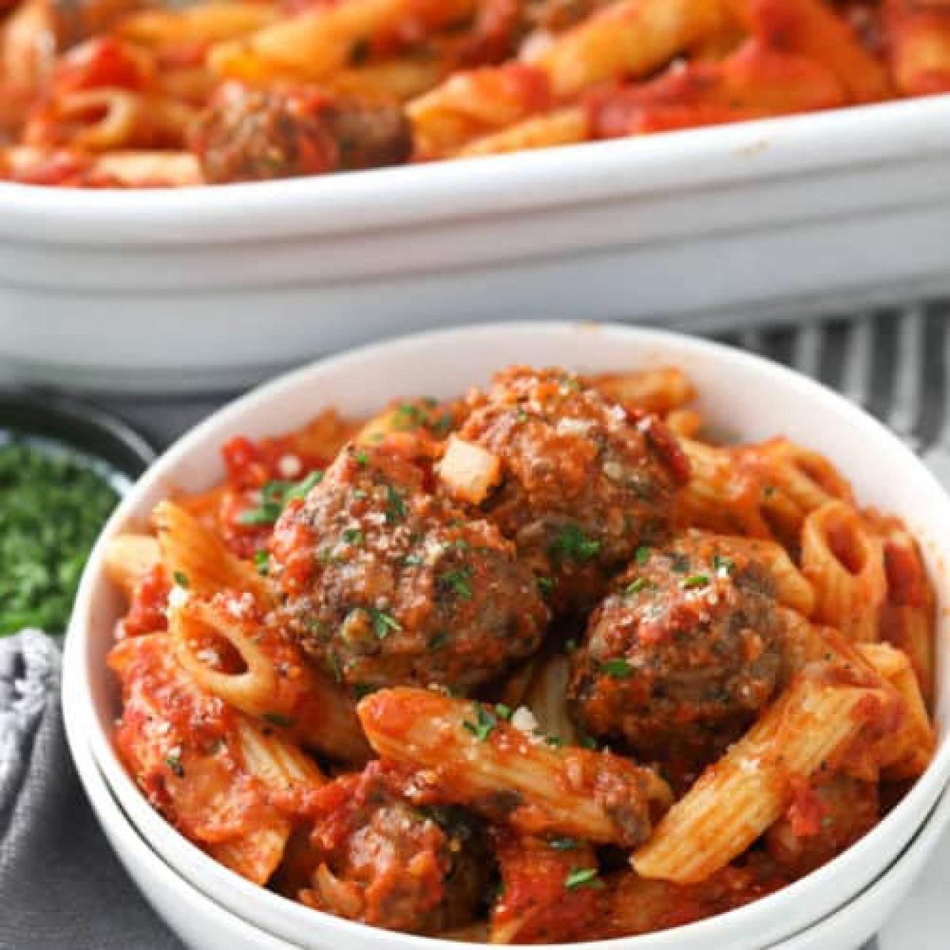 Turkey and Beef Meatballs with Penne Pasta